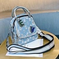 fashion small handbag tote denim with leather shoulder bag woman 2021 ladies hand bags crossbody dual use bolsa feminina luxo