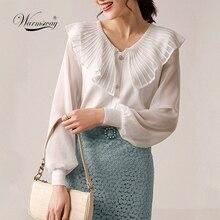 women chic turn down collar black white blouse ruffles long sleeve office wear female shirt elegant solid top blusas  C-006