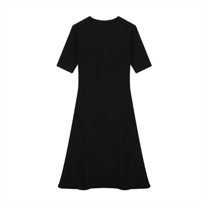 Crewneck dress 2021 spring new Korean version of waist slimming temperament simple base a word long skirt women summer