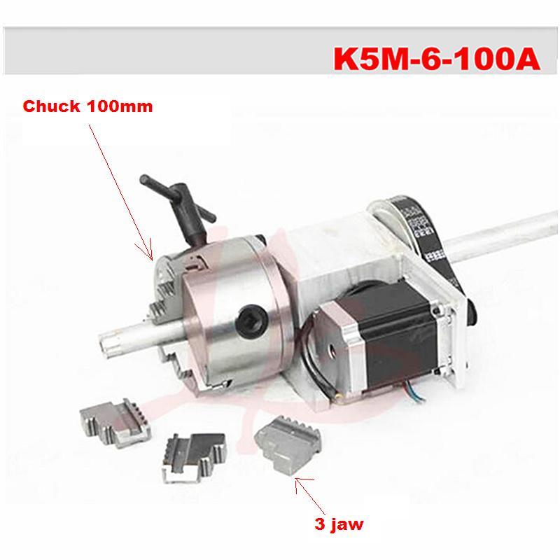 K5M-6-100 rotativo de eje hueco, de 100mm, 3 mandíbulas, 4 mordazas, para máquina de grabado cnc, con 1 par de guantes como regalo gratuito