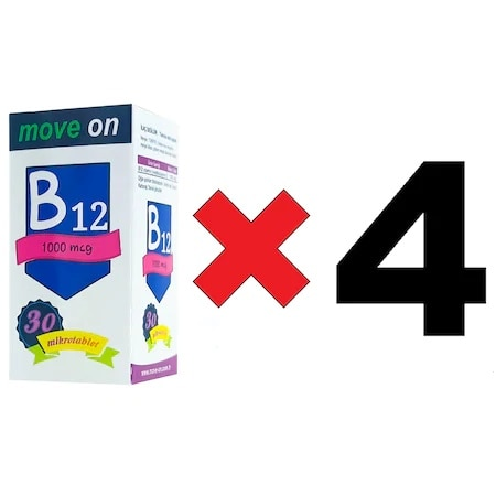 4 Box MoveOn Vitamin B12 1000 mcg 30 Dilaltı Mikrotablet B 12 Sublingual Micro Tablet Vitamin 30 PCs Latest Using date: 2024
