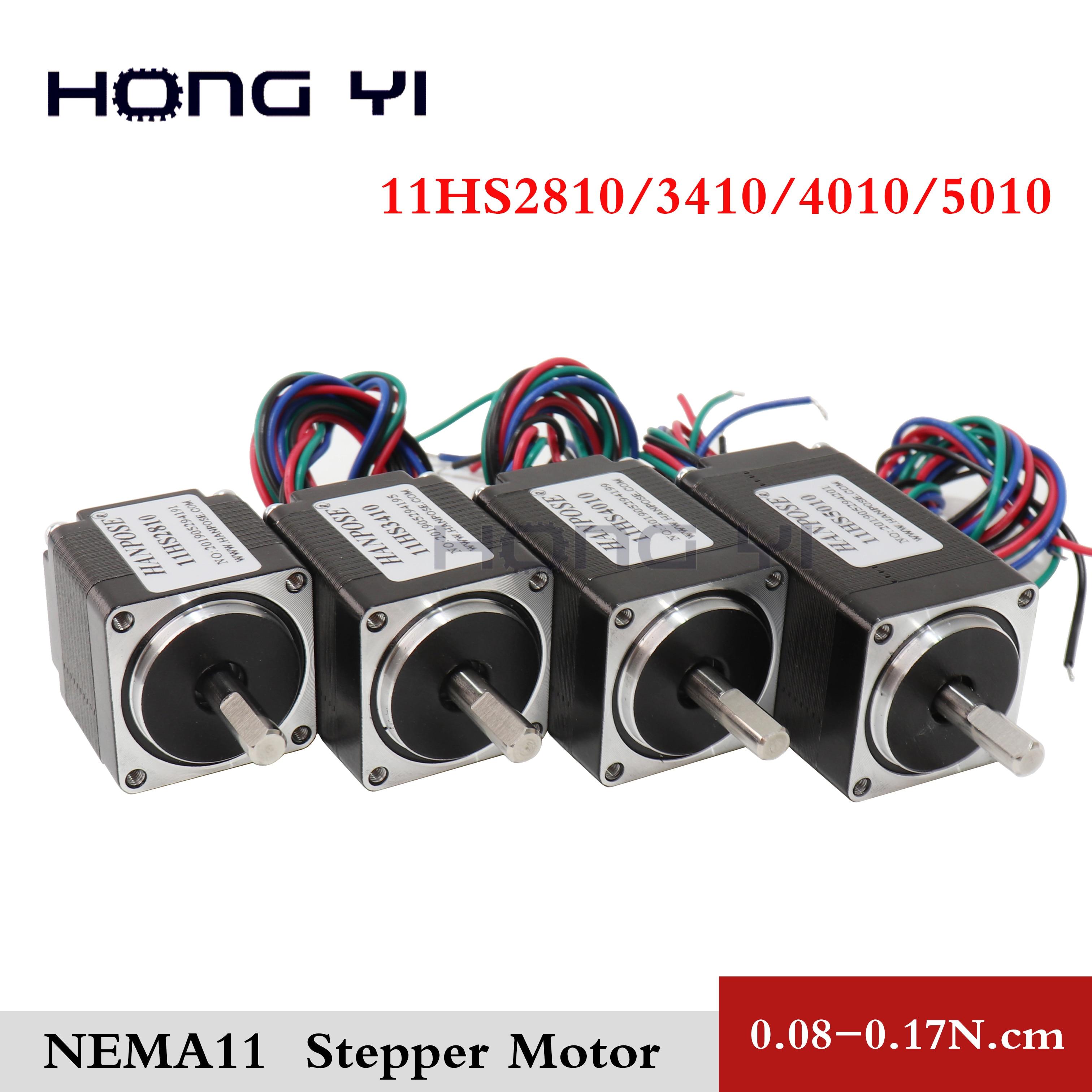11HS2810 3410, 4010 de 5010 NEMA11 motor paso a paso híbrido 28x28x28mm de dos fases 4 cables de 1,8 grados para nuevo CNC router