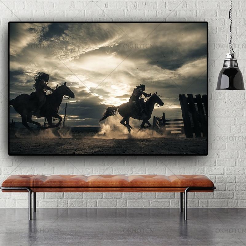 Lienzo de retrato Indio Nativo Vintage blanco y negro pintura póster escandinavo Cuadros pared arte imagen decoración del hogar