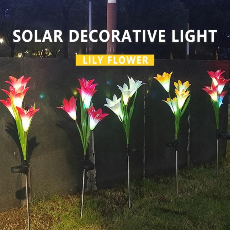 Outdoor Solar Lamp 4 Head Lily Flower Solar Light Colorful LED Garden Landscape Lawn Lamp Waterproof Home Decor Night Lights
