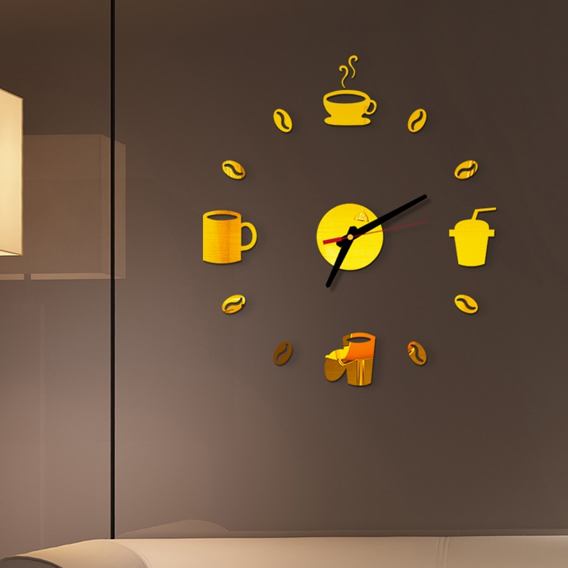 40 см Диам 3D зеркальные настенные часы самоклеящиеся современные немой акриловый художественный аналоговый кухонный DIY кофейные чашки Декор золото/серебро/черный/красный