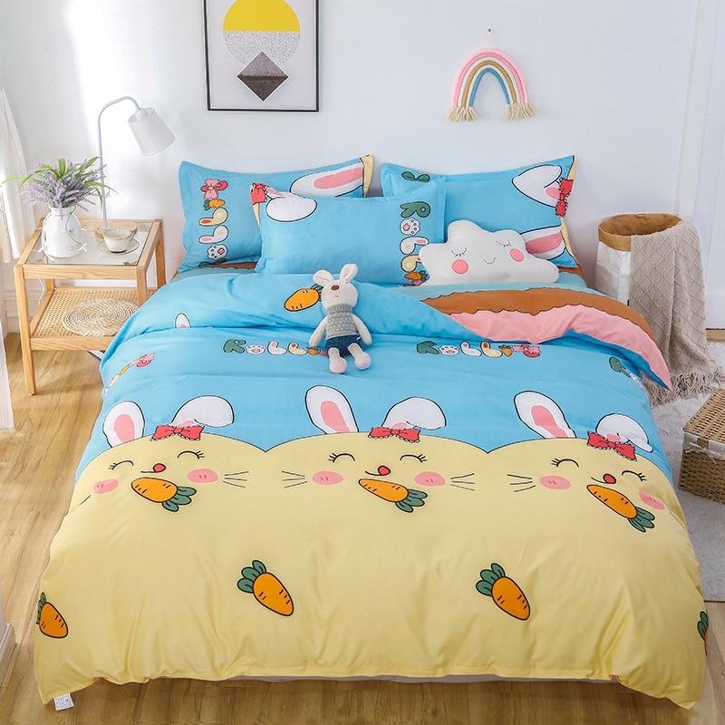 حقيبة مدرسيّة تحمل رسومات كرتون حاف الغطاء 220x240 المخدة 3 قطعة ، 175x220 غطاء لحاف غطاء السرير ، أرنب نمط طقم سرير غطاء بطانية