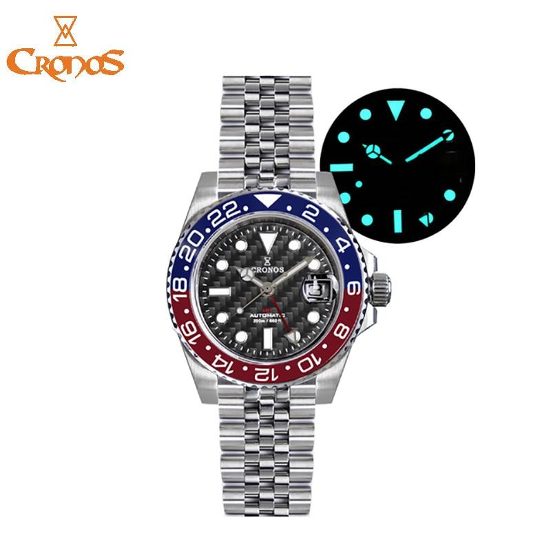 CRONOS بتوقيت جرينتش ووتش الرجال الميكانيكية الغوص الساعات 20ATM للماء 6460 التلقائي حركة B-GW9 مضيئة الفاخرة ساعة اليد الرجال