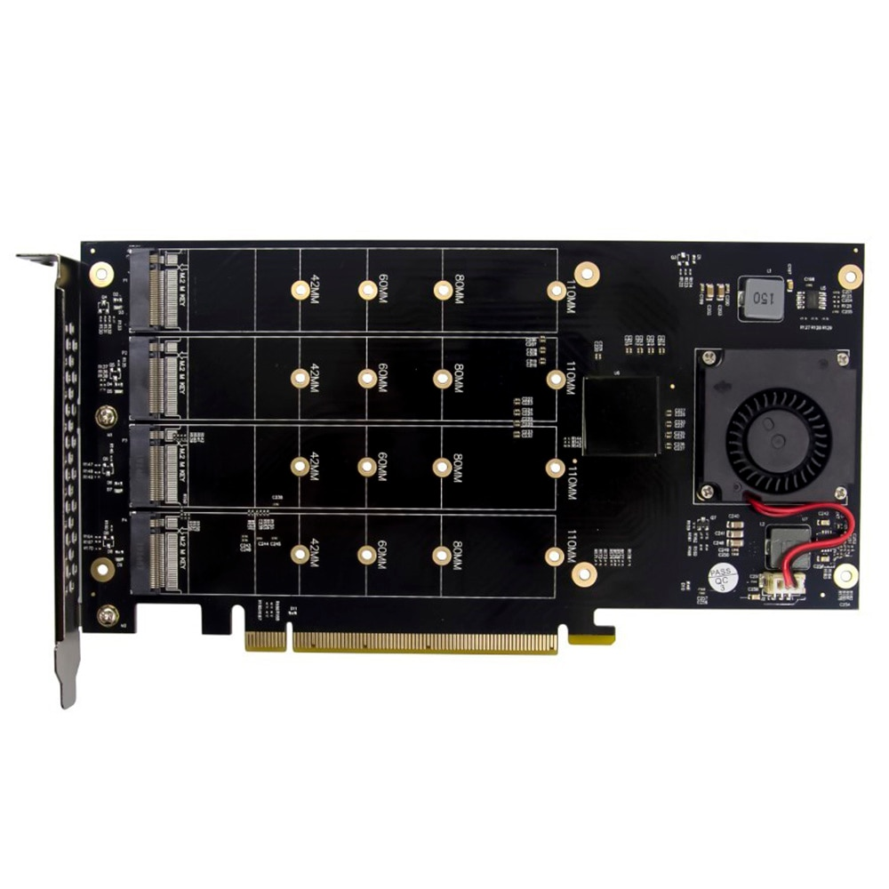 PCl-E X16 إلى 4 NVMe الحالة الصلبة محرك الضميمة محول 4 منافذ M.2 SSD فتحة الكمبيوتر PLX8747 بطاقة التوسع صفيف ل XCH شيا
