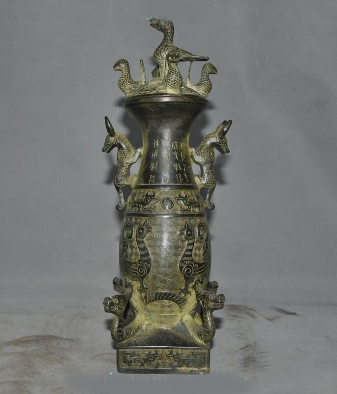 Decoración de boda antigua dinastía china dragón de bronce bestia phoenix estatua de pájaro Zun bote tanques