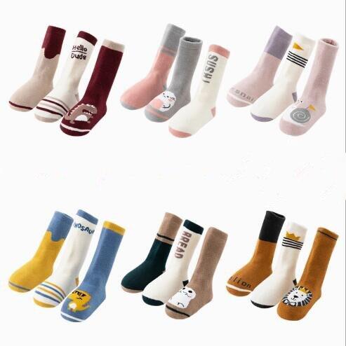 3 Paquete de pares de invierno súper gruesos calcetines de toalla de tubo alto infantil bebé calcetines largos 3 pares de calcetines de rizo de tubo pequeño