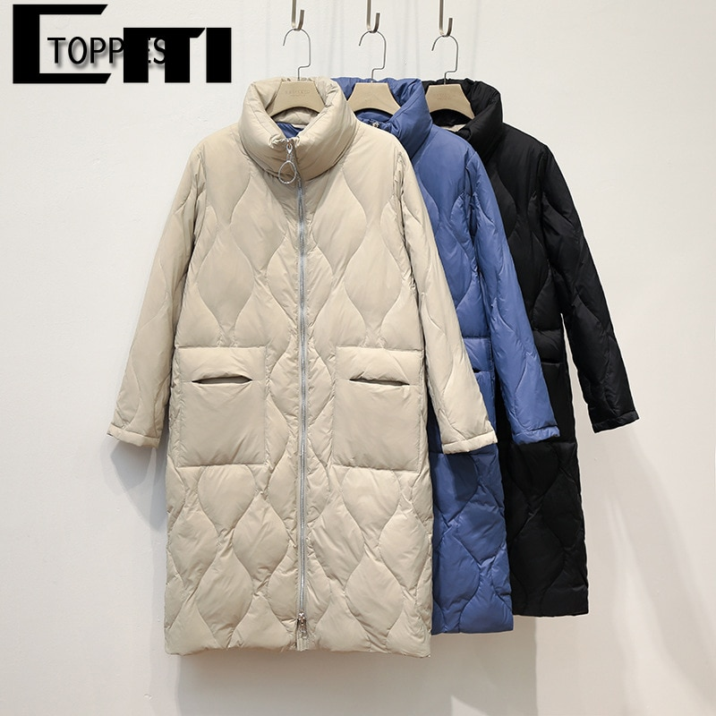 Toppies 2021 Winter Long Coat Thicker Warm Stand Collar Parkas Loose Long Down Coat Korean Overcoats