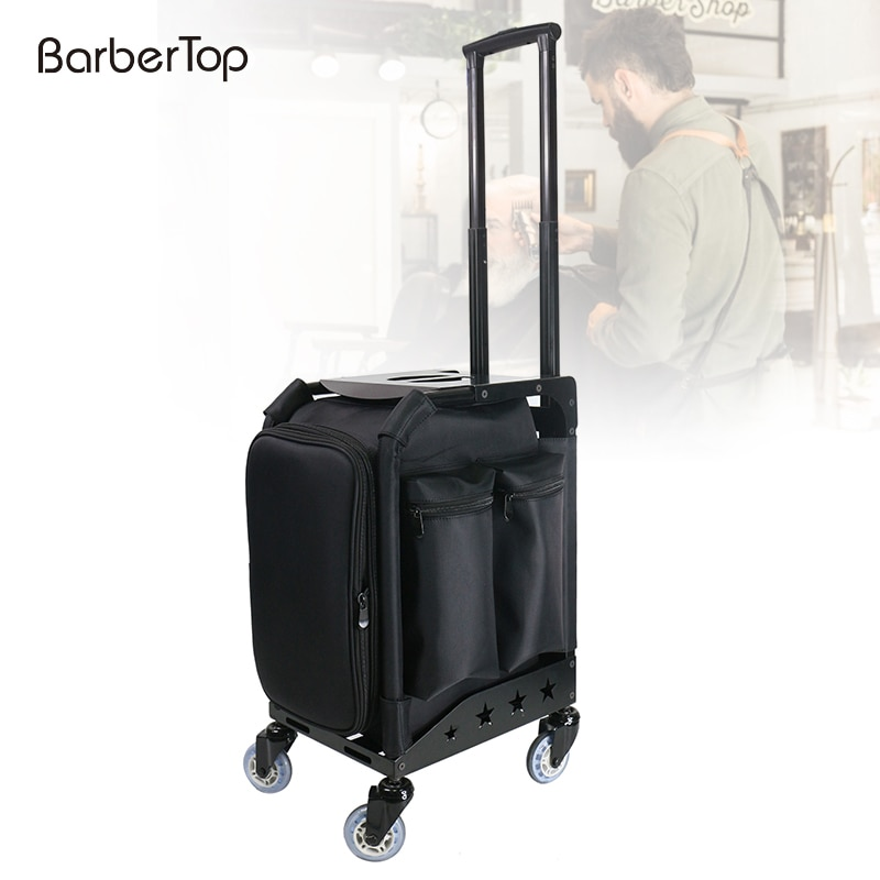 New Black Trolley Cosmetic Case Beauty Salon Case Multi-layer Universal Wheel With Makeup Case Tattoo Tools Bag Barber Tool Box