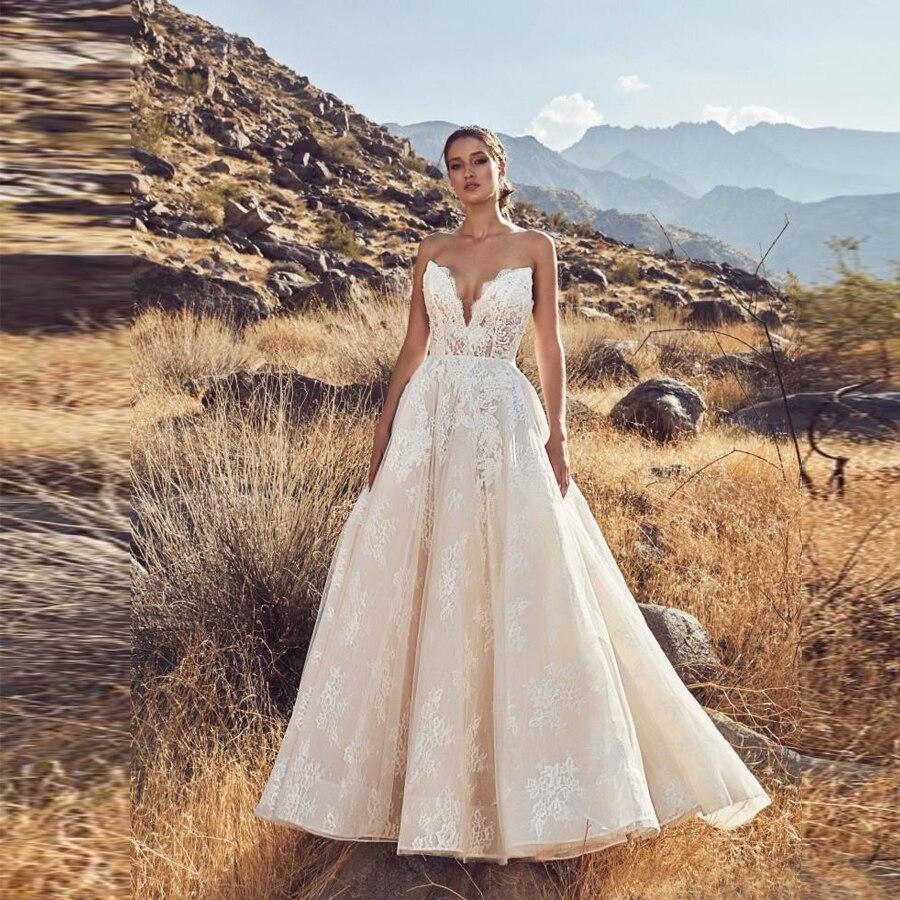 فستان زفاف عتيق من الدانتيل ، بدون حمالات ، سحاب خلفي ، خط a ، مصنوع حسب الطلب ، مجموعة 2020