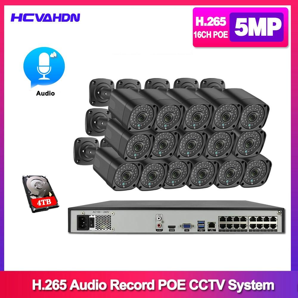 HCVAHDN 16CH 5MP POE NVR 키트 H.265 CCTV 보안 시스템 방수 5MP 오디오 IP 카메라 P2P 비디오 감시 시스템 풀 세트