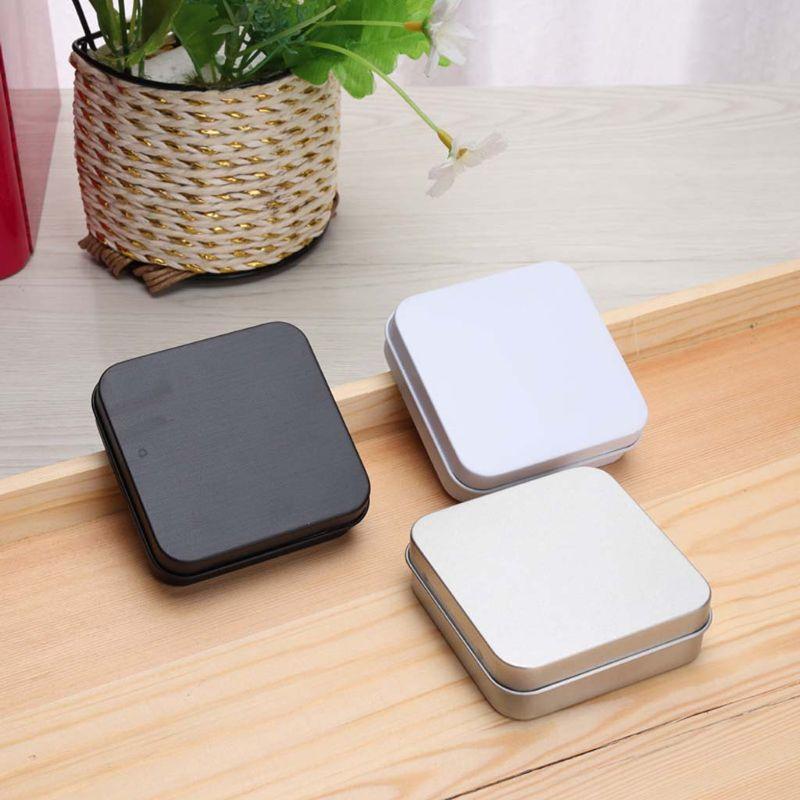 5 uds Mini Metal latas contenedor cuadrado con bisagras Flip caja lata almacenamiento pequeño Kit caja Moneda de joyería caramelo condón organizador portátil