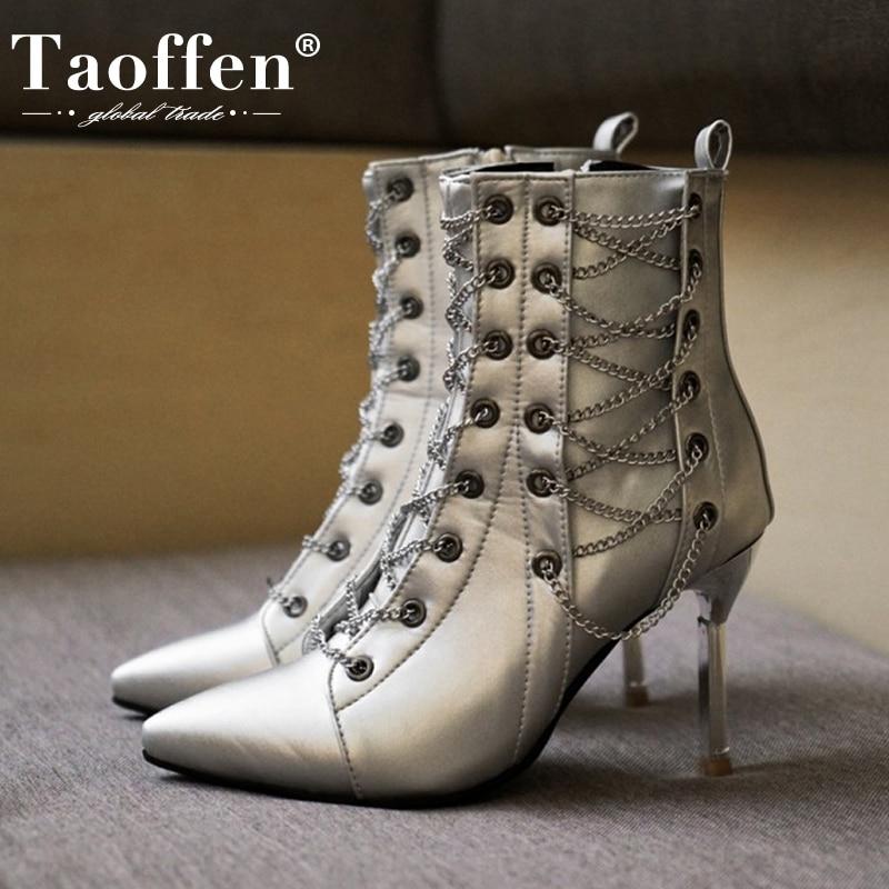Taoffen Woemn botines cadena Sexy tacón alto fino zapatos de invierno mujer cremallera moda bota corta señora calzado de fiesta talla 34-43