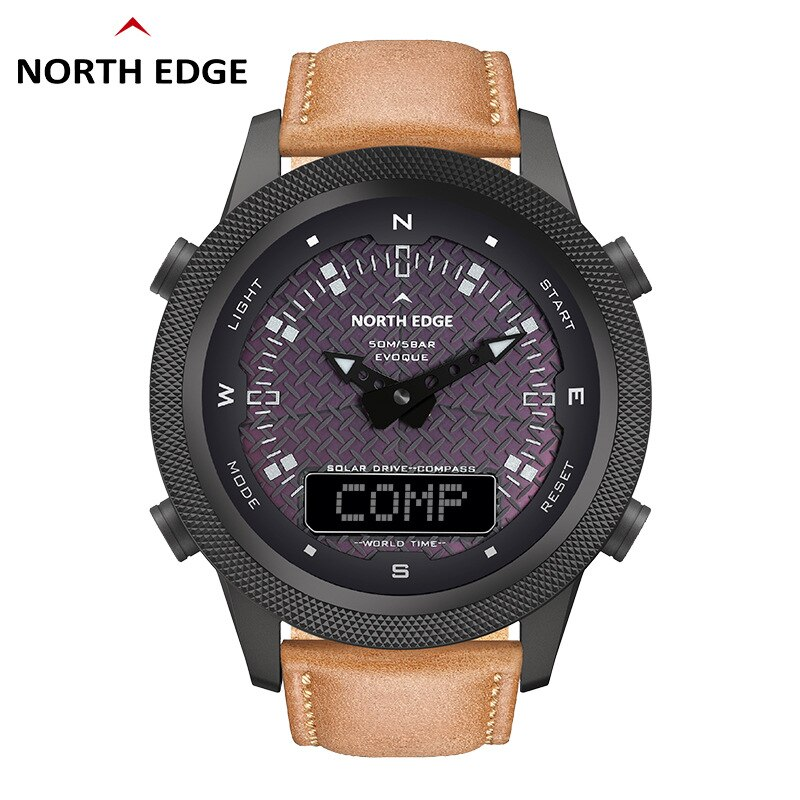 NORTH EDGE Men's Solar Watch Outdoor Sports Watch Full Metal Waterproof 50M Compass Countdown Stopwatch Smart Watch