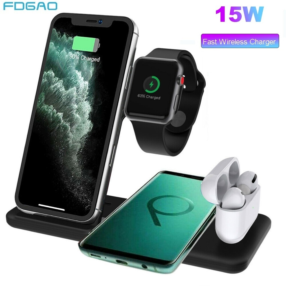 15 Вт Qi Беспроводное зарядное устройство док-станция 4 в 1 подставка для iPhone X XR XS 11 Pro Airpods Pro Apple Watch зарядное устройство Быстрая зарядка Hoder
