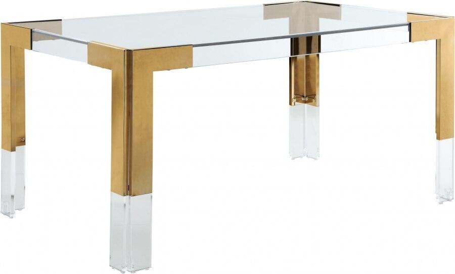 أثاث جديد أكريليك ريترو تصميم الصناعية الحديثة الذهبي معدن علوي زجاج طاولة طعام 6 مقاعد لغرفة الطعام المطبخ