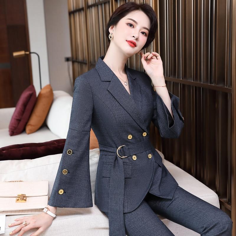S-4XL Женская одежда в Корейском стиле, Костюмные брюки, модная высококачественная одежда для офиса и работы, 2 предмета