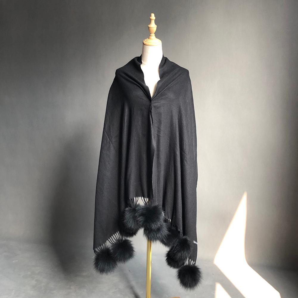 المرأة وشاح الشتاء المعتاد شال كشميري وشاح نقي الطبيعية الثعلب الفراء الكرة بوم بوم شال