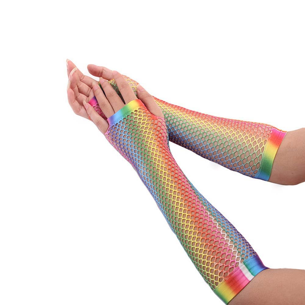 1 Pair New Fashion Party Half Finger Short Long Net Gloves Rainbow Color Soft Breathable Mesh Mitten