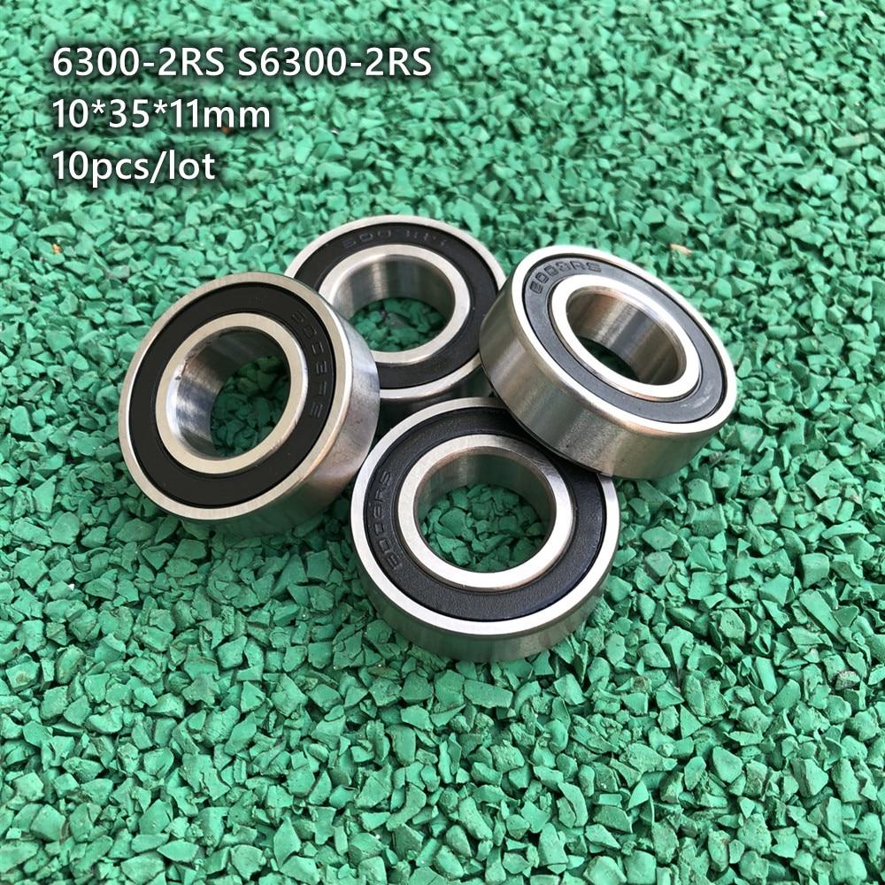 10 قطعة/الوحدة 6300-2RS S6300-2RS المطاط مختومة الفولاذ المقاوم للصدأ أخدود عميق الكرة تحمل 6300 S6300 2RS RS 10x35x11mm