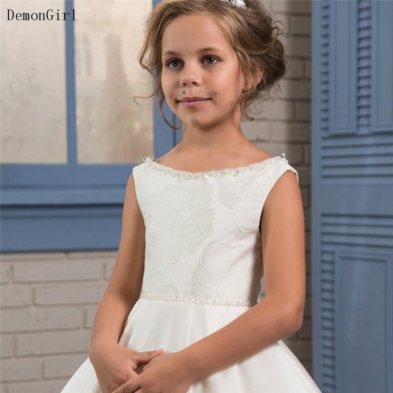Fancy Ivory Flower Girl Dresses Sleeveless Kids Birthday Pageant Gowns First Communion Dresses For Girls