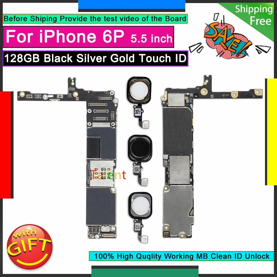 Para IPhone 6 P 6 Plus placa base 128GB negro plateado dorado Touch ID botón de inicio desbloquear placa base Original buena placa lógica probada