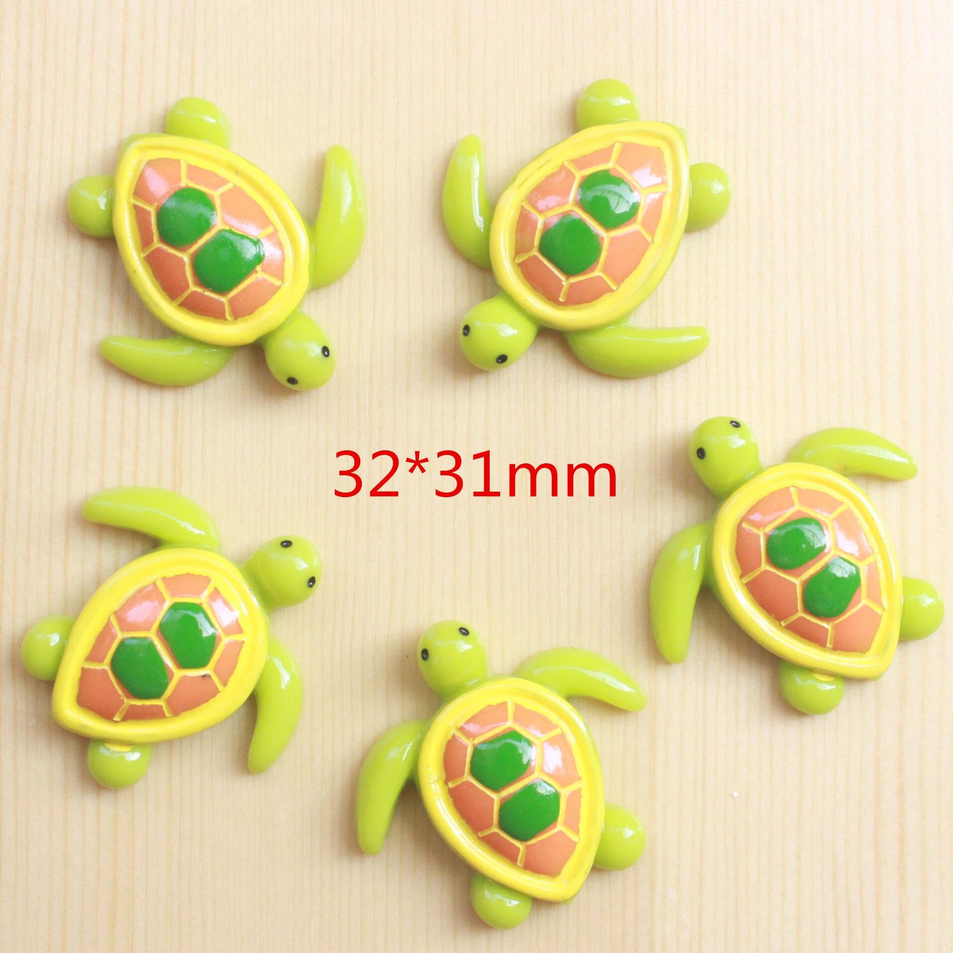 10 Uds. Cabujones de resina con respaldo plano de tortuga bonita de dibujos animados para niños, lazos para el pelo, decoración con adornos Diy para manualidades