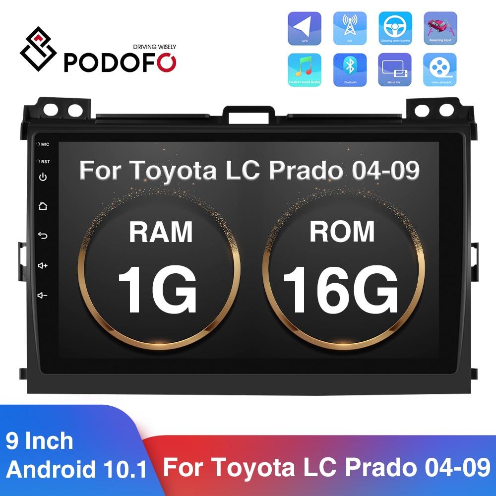 Podofo Android 10,1 2Din Radio de coche 9 espejo HD navegación GPS multimedia reproductor para Toyota LAND CRUISER Prado 120, 2004-2009