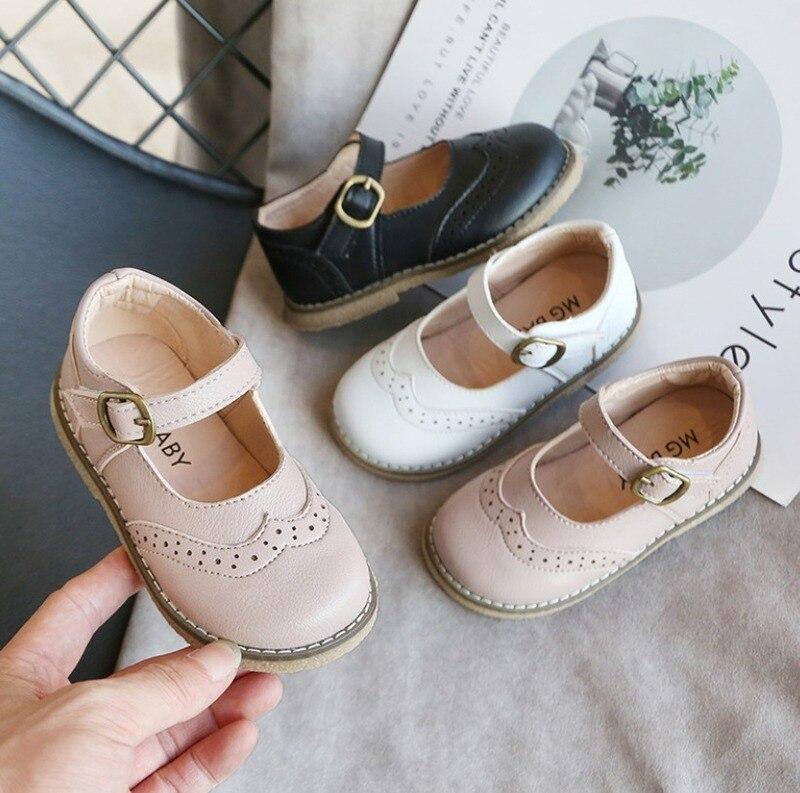 Zapatos para niños, zapatos escolares de princesa para niñas, zapatos planos de cuero para niños de color blanco, rosa y negro, zapatos informales para niñas