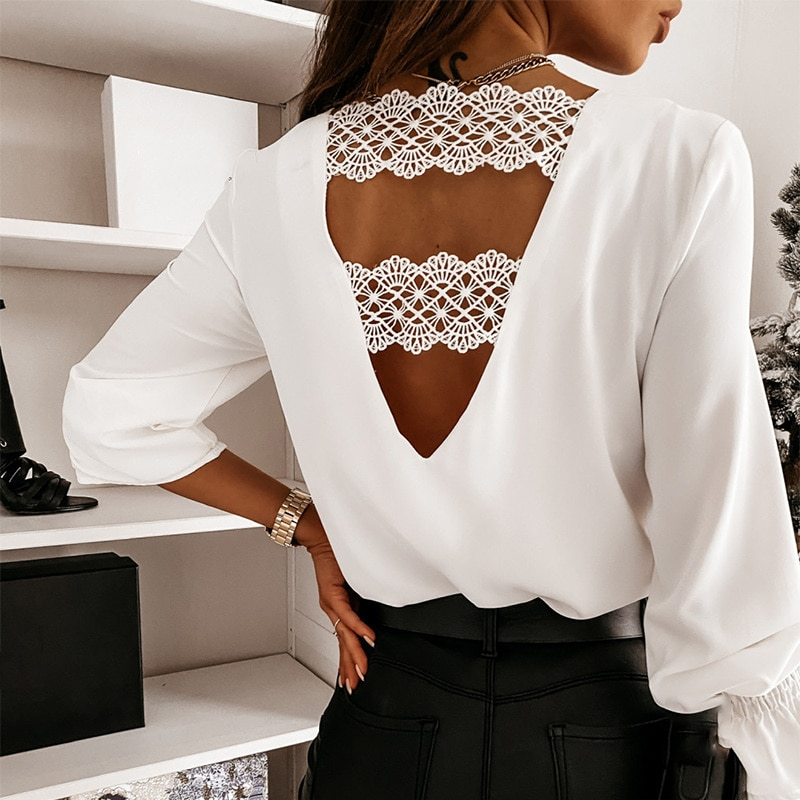 Lace Long Flare Sleeve Women's Blouse Sexy Backless Deep V-neck Female Blouses 2021 Spring Patchwork Office Casual Ladies Tops