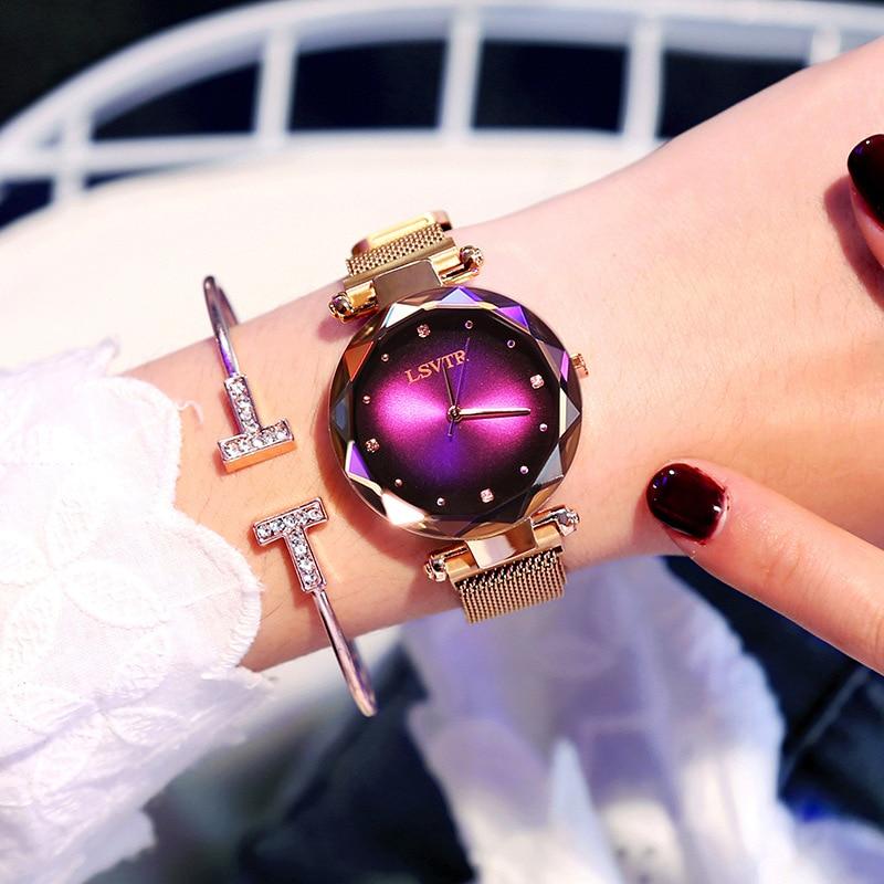 2019 Luxury Rose Gold Watches Women Bracelet Fashion Diamond Ladies Dress Starry Sky Magnetic Quartz