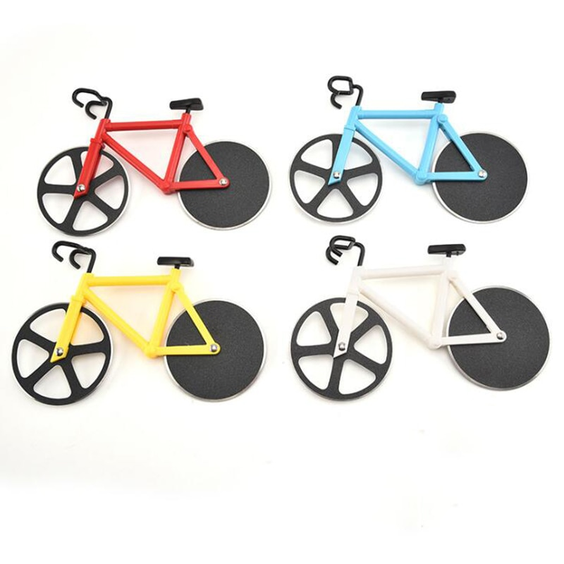 Bicycle Pizza Cutter Wheel Stainless Steel Plastic Bicycle Roller Pizza Cutter Slicer Kitchen Gadget Pizza Cutter creative plastic bananas slicer cutter yellow