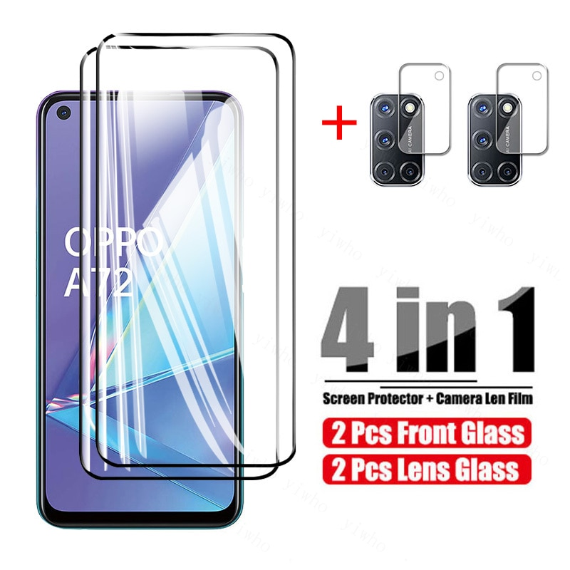 4 In 1 Screen Protector for Oppo A72 2020 Camera Lens Protective Glass for Oppo a 72 5g Oppoa72 Temp