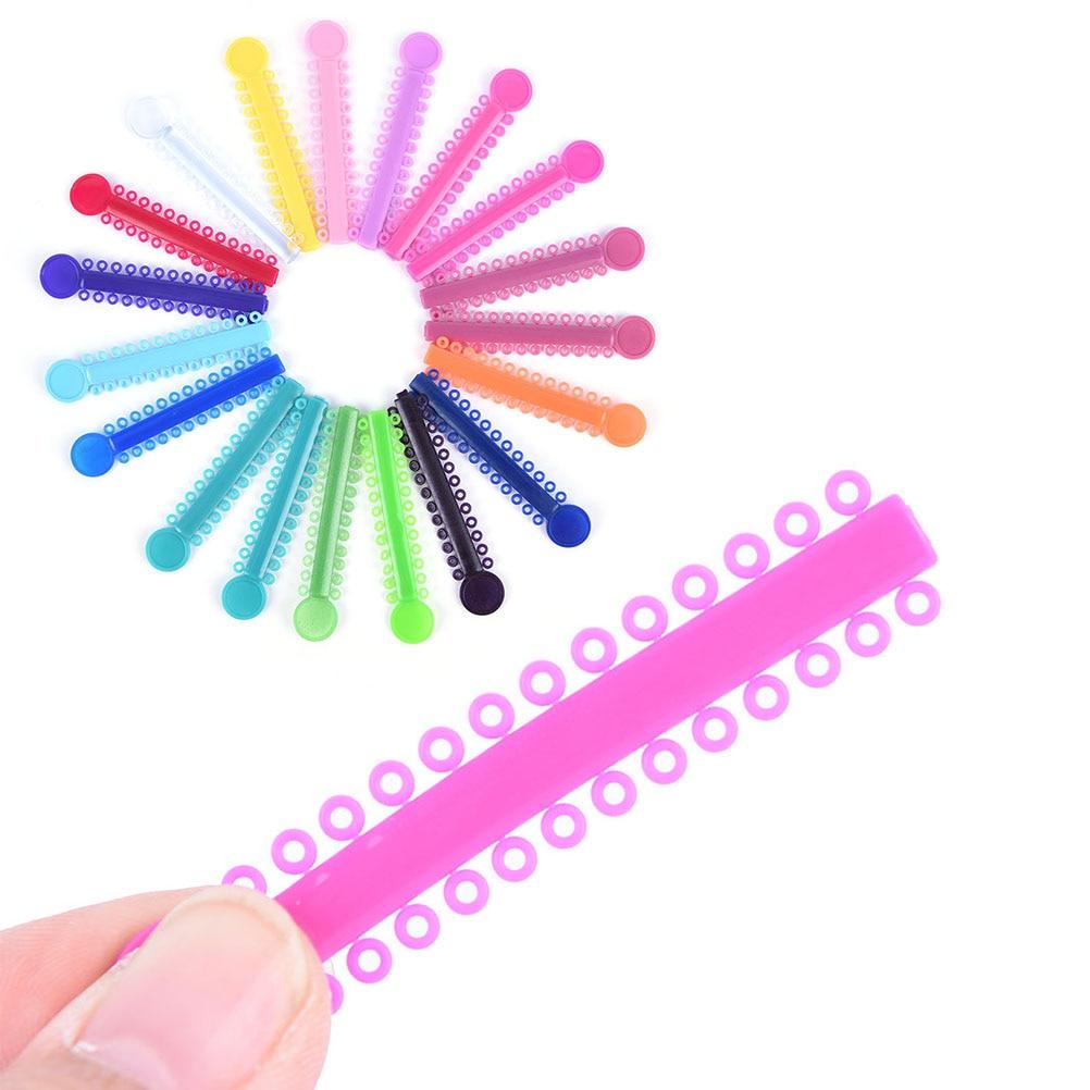 20 палочек для зубной лигатуры, Ортодонтические эластичные резинки, отбеливающие зубы пластиковые, унисекс, разные цвета, брекеты, ленты