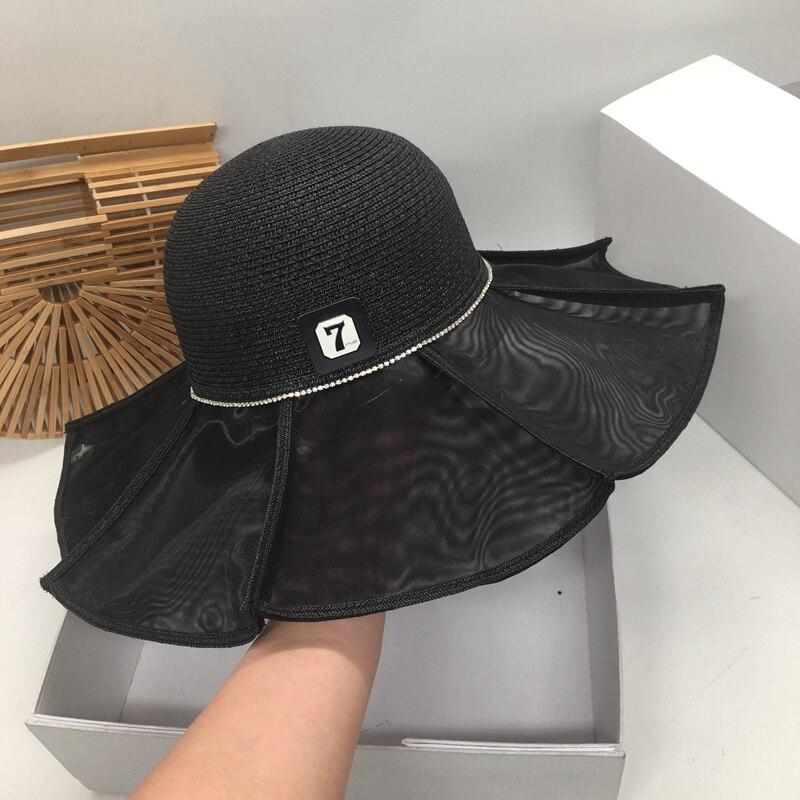 Primavera e verão nova sombra é impedido bask balde chapéus e fresco e grande palha sol chapéu brimwave seaside férias chapéu feminino f