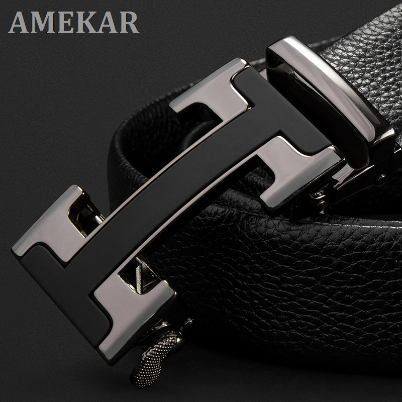 Men's Belts Luxury Automatic Buckle Genune Leather Strap Black for Mens Belt Designers Brand High Qu