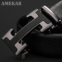 Men's Belts Luxury Automatic Buckle Genune Leather Strap Black for Mens Belt Designers Brand High Qu