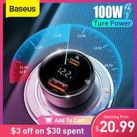 Автомобильное зарядное устройство Baseus PD 100 Вт, быстрая зарядка QC4.0 QC3.0 PD 3,0, быстрая зарядка для iPhone 12 Pro Max Samsung XiaoMi, автомобильное зарядное уст...