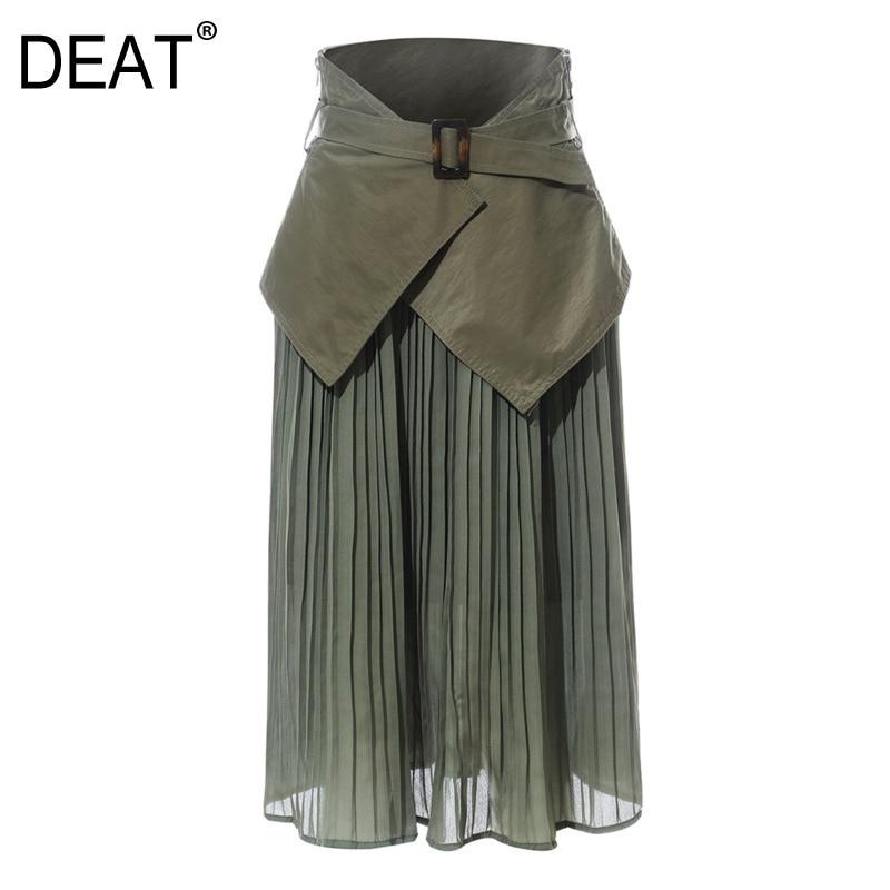 DEAT 2020 new fashion high waist belts seal green pleated chiffon patchwork chiffon two pieces long skirts bottoms WJ04906