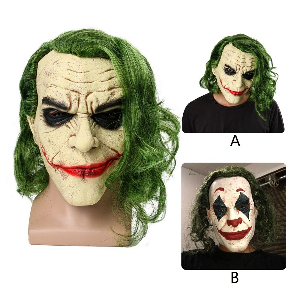 The Dark Knight Cosplay Horror Scary Clown Mask Joker Mask with Green Hair Wig Halloween Latex Mask Party Costume coslive new version bane jacket coat batman the dark knight rises cosplay costume for men adult