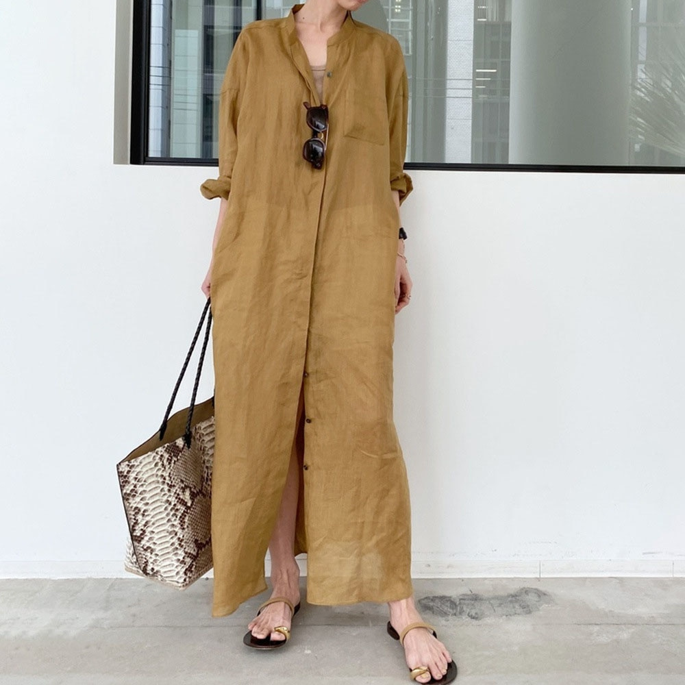 Japanese Korean Style 2021 Summer New Solid Color Long Women's Dress Single-breasted Split Fork Loos