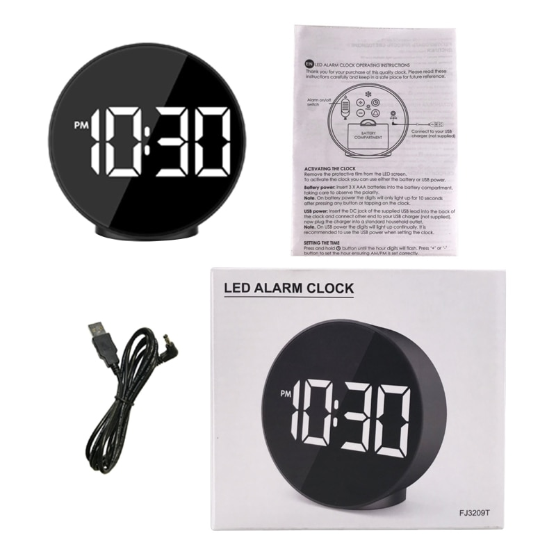 LED Alarm Clock Voice Control Wake Up Light Electronic Time Temperature Display E15A