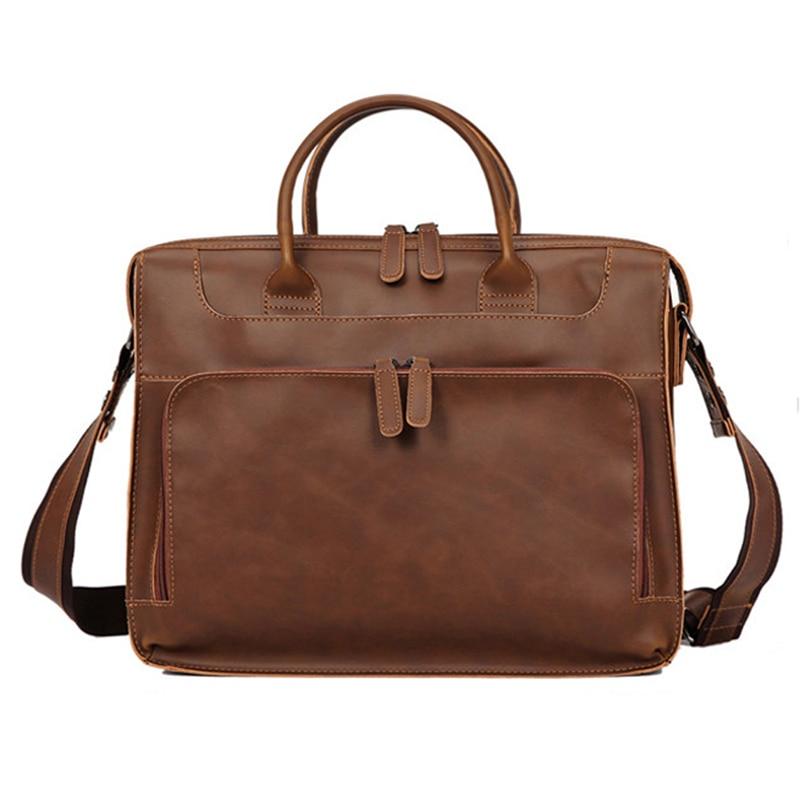 Women Men Leather Shoulder Bag Large Capacity 14 Inch Laptop Briefcase Bags for Documents Messenger Bag Vintage Leather Business