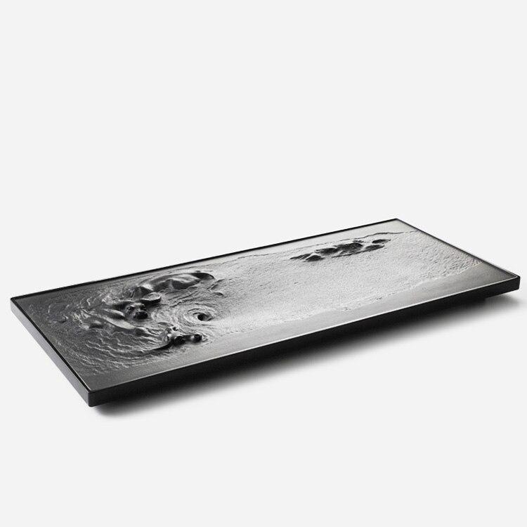 أسود الصينية صينية الشاي حجر تخدم الإبداعية خمر صينية الشاي استنزاف الفن الكونغ فو هضبة دي خدمة طقم شاي لوازم DE50CP