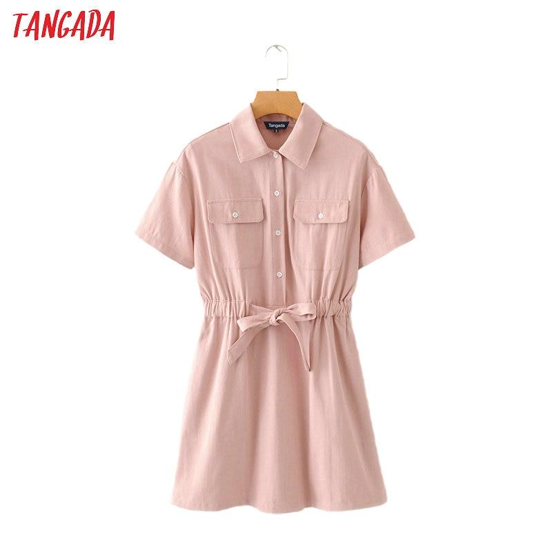 Tangada women elegant pink denim dress with slash short sleeve 2020 fashion female high street dresses vestido 2M01