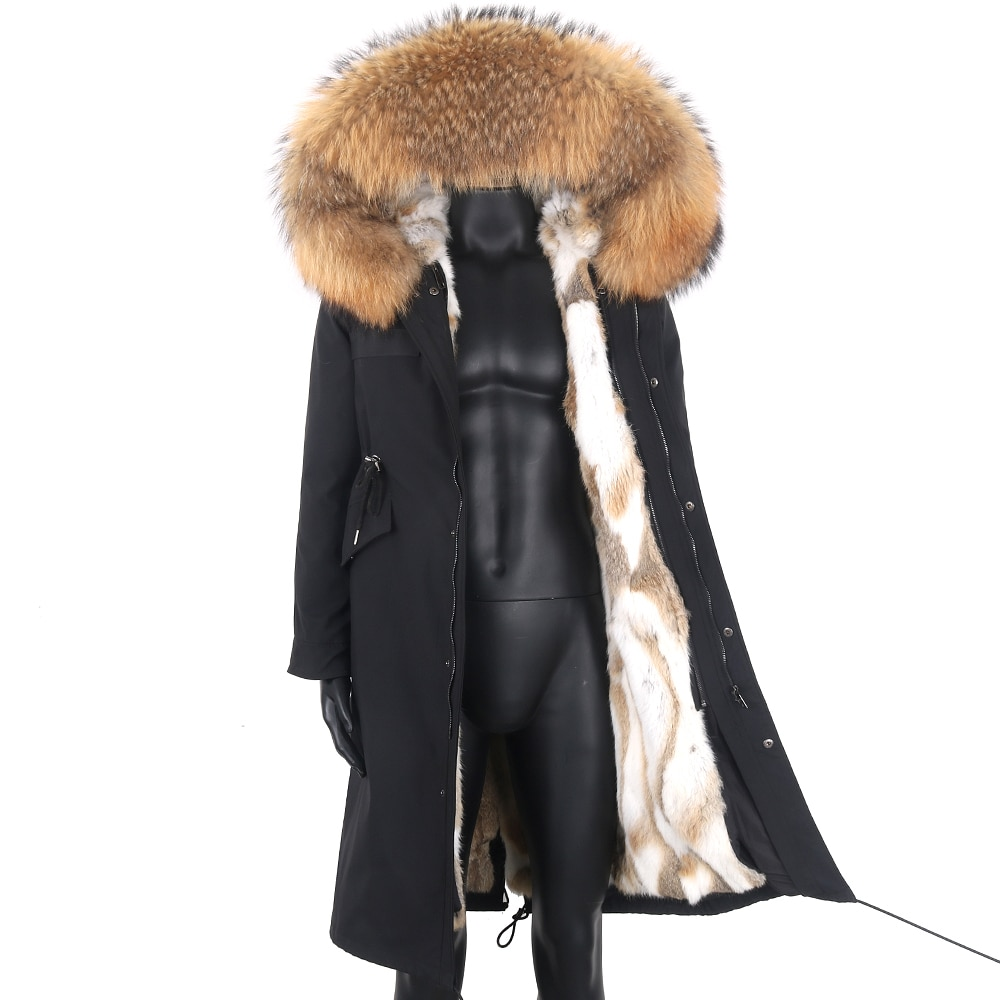 جديد حقيقي حقيقي طبيعي أرنب معطف الفرو الرجال الموضة مقنعين سترة مقاوم للماء سترة خارجية مخصصة أي حجم