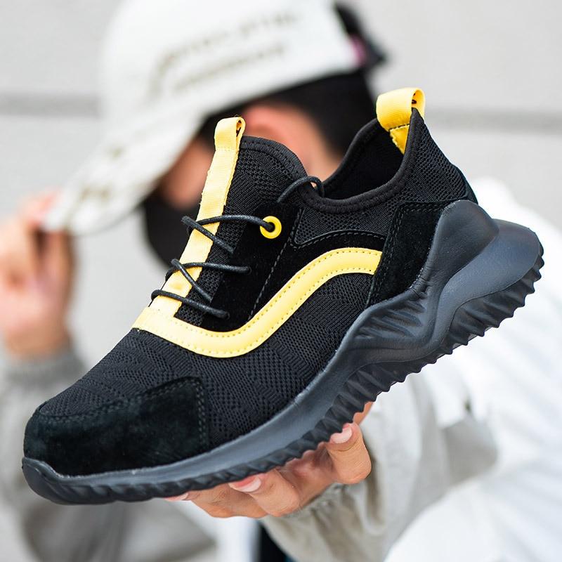 Nuevo diseño de zapatilla de deporte de malla transpirable para hombre, puntera de acero Indestructible, calzado de seguridad antigolpes para el trabajo, botas de trabajo al aire libre para hombre